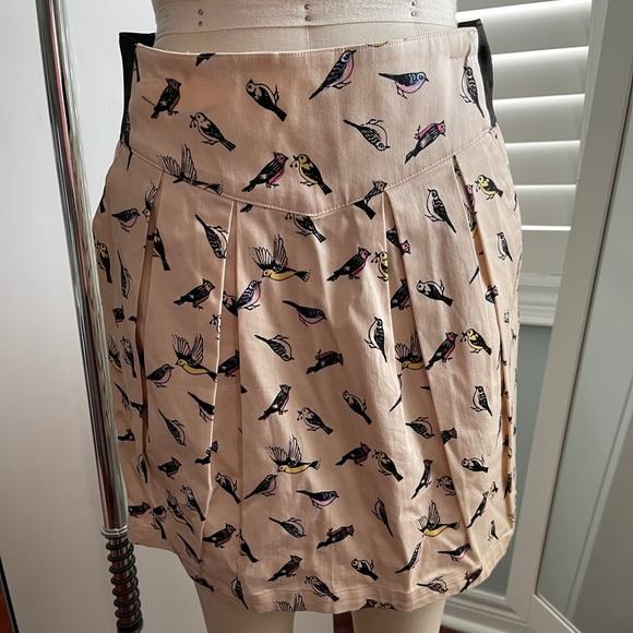 H&M Light Pink Bird Print Skirt Size 10